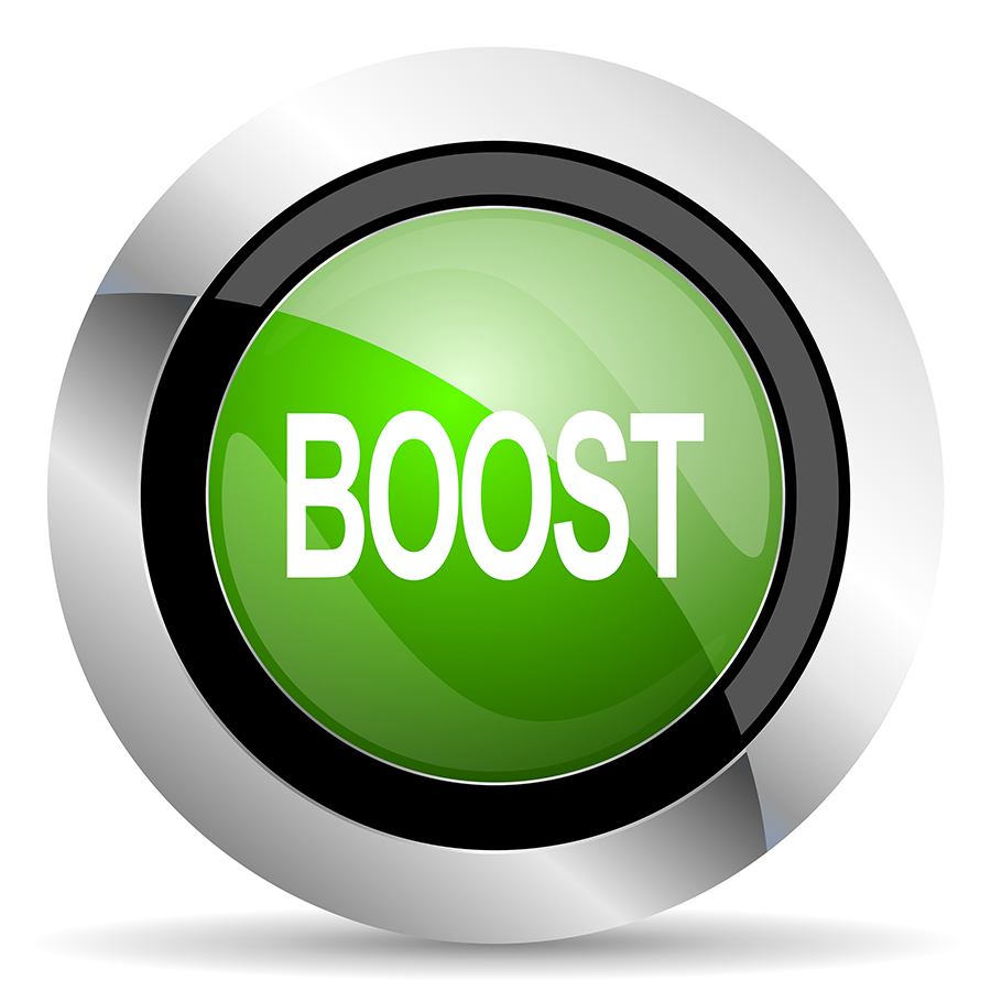 boost icon, green button